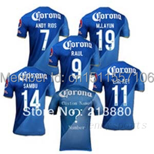 14 15 Thailand quality2014 america team soccer jersey,top thailand quality america team away blue jersey,short sleeved shirts,fo(China (Mainland))