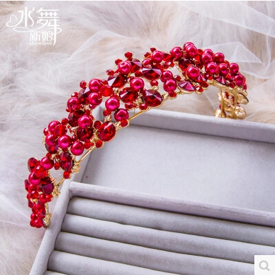 Free Shipping! 2015 New Fashion Royal Pearl Red And Gold Color Tiaras Crown Wedding Hair Jewelry Bridal Hair Accessories HG328(China (Mainland))
