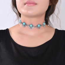 2016 New Hot Boho Collar Choker Silver Necklace jewelry for women Fashion Ethnic style Bohemian Turquoise Beads neck whole sale(China (Mainland))