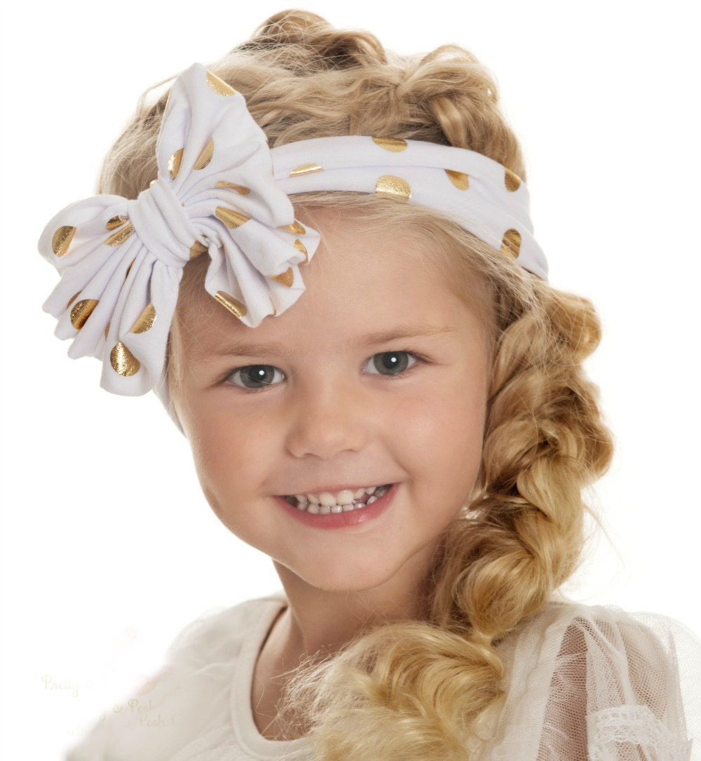 Baby Gold Dots Headband 2016 Brand Girls Hair Accessories Lovely Bow Knot Turban Headband Fashion Baby Girl Headwear 10 Colors<br><br>Aliexpress