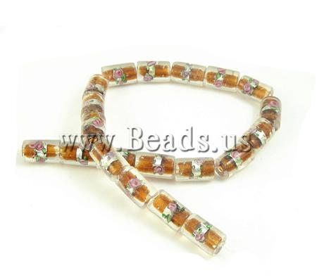 Free shipping!!!Silver Foil Lampwork Beads,Korea Jewelry, Tube, yellow, 10x16mm, Hole:prox 2mm, 100PC/Ba Sold By Bag(China (Mainland))