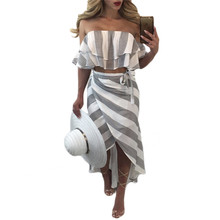 Buy Summer Skirt Women 2 Piece Set Fashion Stripe Print Sexy Ruffles Strapless Crop Tops T-shirt + Irregular Long Skirt Casual Set for $14.17 in AliExpress store