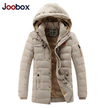 2015 (JOOBOX) брендовая высококачественная стильная мужская куртка с подкладкой из утиного пуха, хлопковая плотная куртка с отстегивающимся капюшоном, длинная куртка, бесплатная доставка