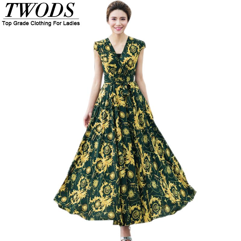 Twods 2016 New Baroque Pattern Women Maxi Summer Dress Sexy Wrap V-neck Swing Hem Boho Yong Lady Long Dresses Vestido Vintage