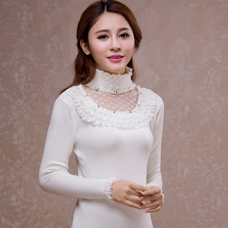 New Arrival Turtleneck Knitted Sweater Lace Warm Cashmere Pullover Female Cute Long Sleeve Jumper Bodycon Sweater Women 2015