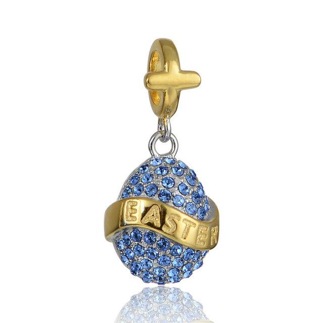 925 - серебристо-ювелирные бусины золотое пасхальное проложить CZ бусины Fit Chamilia пандора браслет серебро 925 мода DIY