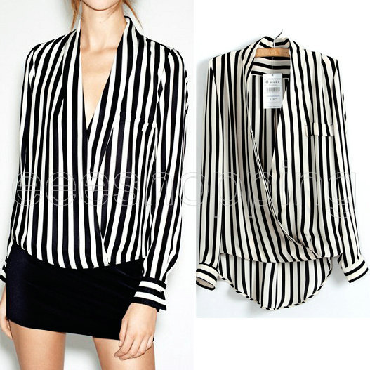 Black And White Chiffon Blouse | Fashion Ql