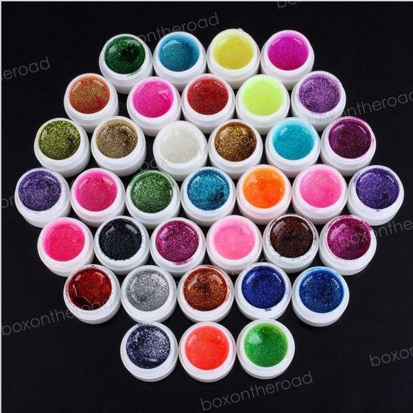 wholesale New 36 Colors Glitter shiny UV Nail Art Tips Gel  Glistens gel EzFlow