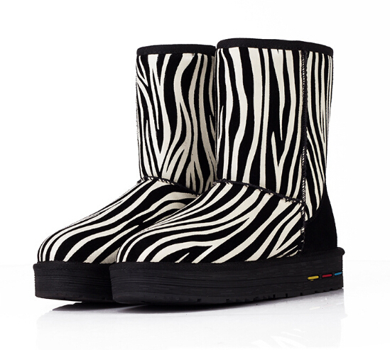 Striped Women Warm Winter Boots New Fashion Mix Colors Snow Boots Female Shoes Slip Heavy-bottomed InTube Boots Botas De Mujer от Aliexpress INT