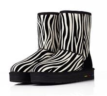 Rayado mujeres Botas De invierno cálido moda De nueva mezcla De colores De la nieve Botas zapatos femeninos antideslizantes De fondo grueso InTube Botas De Mujer(China (Mainland))