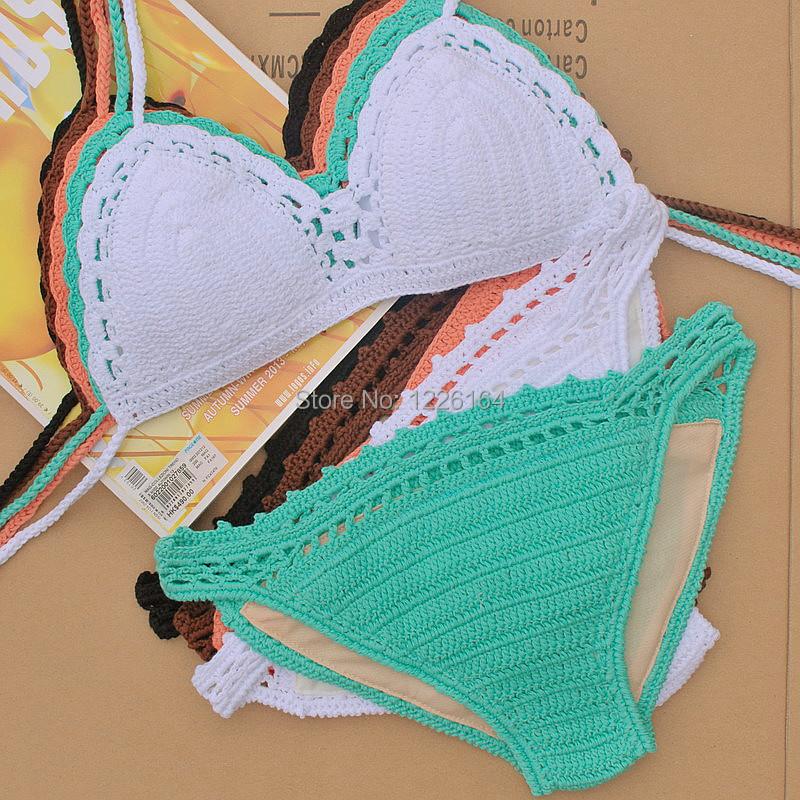 Crochet Bathing Suit : swimwear bikini set , Crocheted crafted hippie swimsuit bathing suit ...