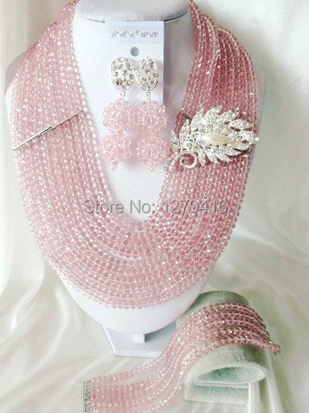 Fashion Nigerian African Wedding Beads Jewelry Set , Crystal Necklace Bracelet Earrings Set C073<br><br>Aliexpress