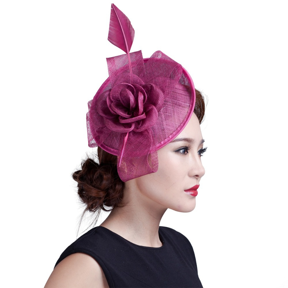 Retail Botique 2015 LADY vintage feather Sinamay fascinator flower big bow fascinator for horse racing festival&wedding 7colors(China (Mainland))