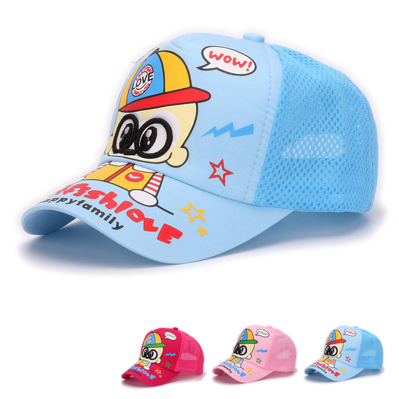 Kids summer mesh cap cute boy with glasses embroidery adjustable children trucker caps summer mesh hat for little boys and girls(China (Mainland))