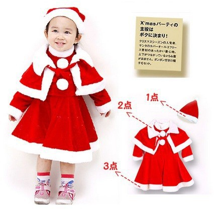 Christmas Baby Girl Clothes Sets winter Santa Claus Suits Kids outfits cap Long Dress Cloak hat clothing gift T19
