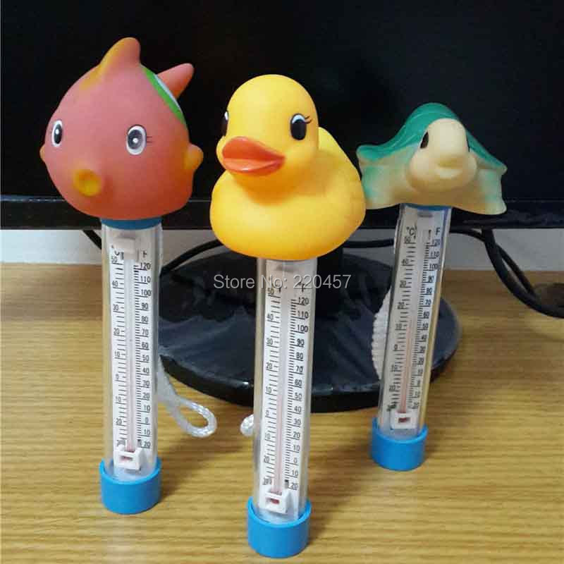 swimming pool cleaning equipment-thermometer with rope/pool Animal type goldfish Or Duck thermometer(China (Mainland))