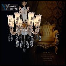 2016 New Arrival Sale Modern Chandeliers Led Light Crystal Kroonluchter Lampadario Lustres De Sala Zinc Alloy Jade 8820/6(China (Mainland))