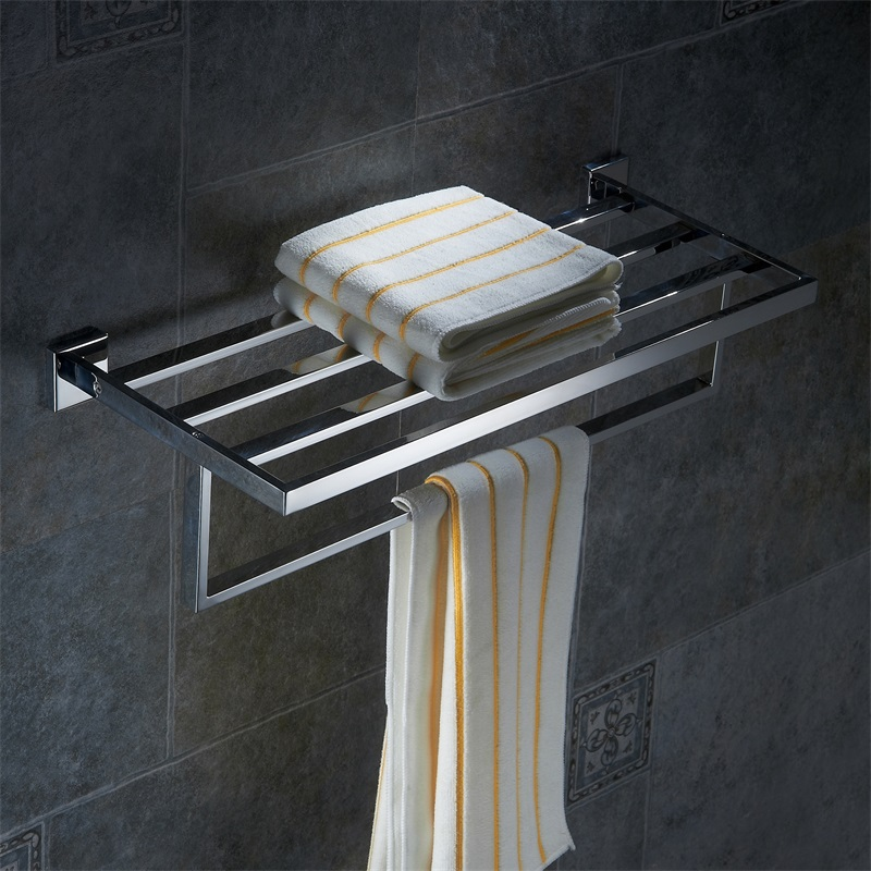 LANGPAI Bathroom Accessories Square Corners Solid Double Tiers Fashion Stainless Steel Towel Holder Towel Rack Towel Bar 6322(China (Mainland))