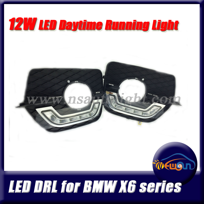 Wholesale 1pair 12W CREE LED Daytime Running Light LED DRL Fog Lamp Car Lights for BMW X6 Day Running Light Front driving light(China (Mainland))
