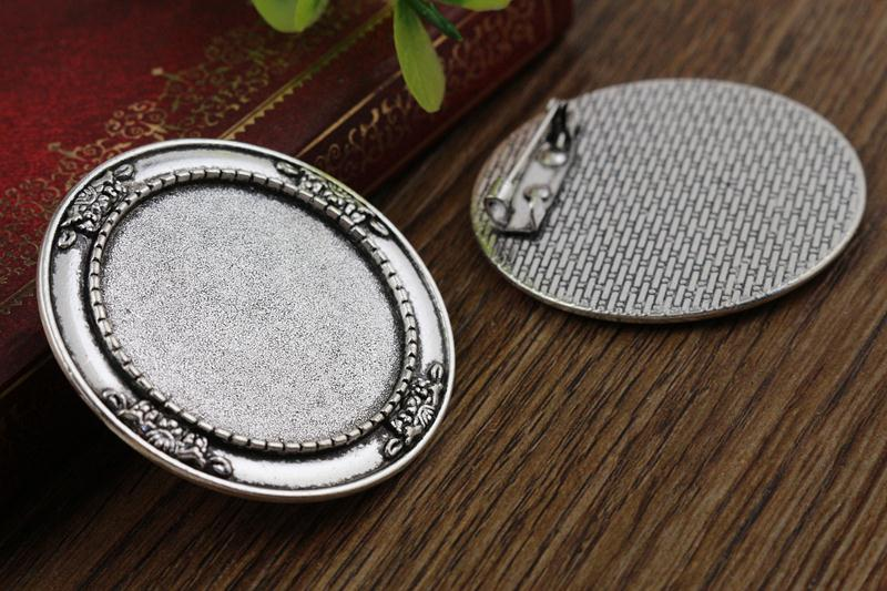2pcs 30mm Inner Size Antique Silver Brooch Pin Cabochon Base Setting (B6-14)(China (Mainland))