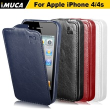 IMUCA Original Brand New PU Leather Case For iphone 4 iphone 4s Mobile Phone Vertical Flip Case Cover Free Shipping(China (Mainland))