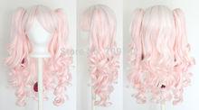 Vocaloid Hatsune Miku Lolita Wig Pig Tails White Light Pink Blend Mix Gothic Sweet ponytai Hairs queen brazilian made Hair wigs(China (Mainland))