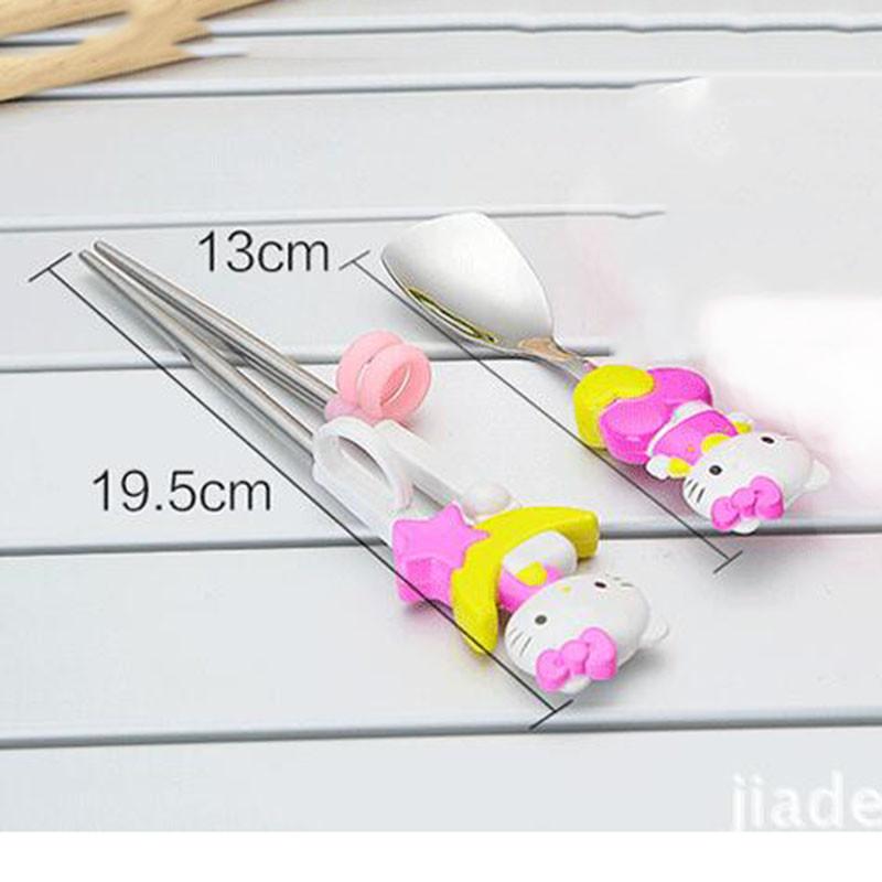 Cartoon-Hello-Kitty-Kids-Children-Learning-Training-Chopsticks-or-Spoon-Baby-Enlightenment-Chopsticks-or-Spoon-Kids (2)