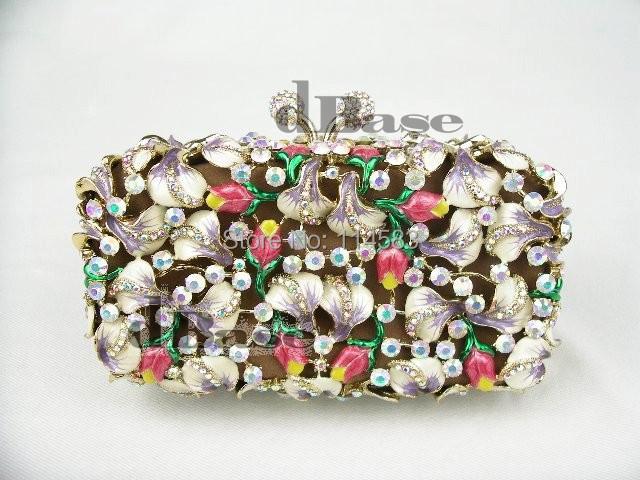 7110A Crystal Flower floral Lily Wedding Bridal Party Night hollow Metal Evening purse clutch bag case handbag