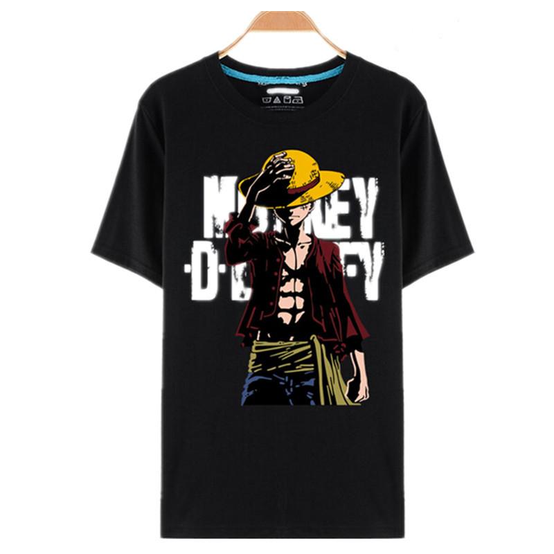One Piece T Shirt Luffy Straw Hat Japanese Anime T Shirts O-neck Black T-shirt For Men Anime Design One Piece T-shirt camisetas(China (Mainland))