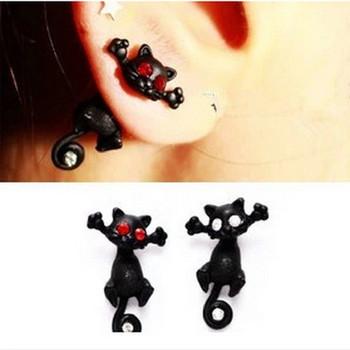 1 шт. 2015 новый горячий мода панк кот мило черный котенок уха серьги для женщин