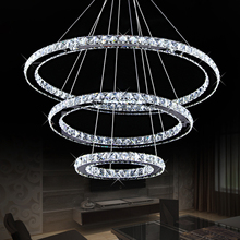Diamond Ring LED Crystal Chandelier Modern Pendant Lamp 3 Circles For Dining Room Hotel Lighting Fixture Kitchen Fitting(China (Mainland))