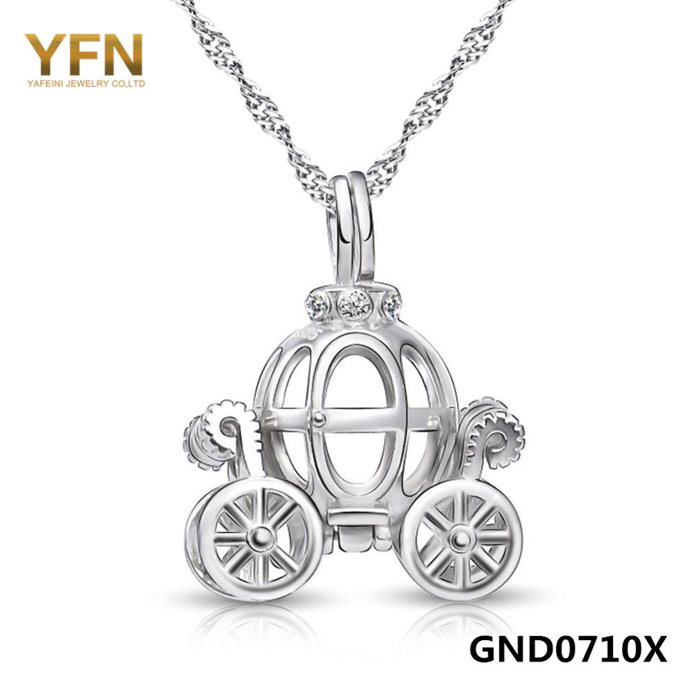 Shiny 18 inches 925 Sterling Silver Water Wave Chain Necklace With Unique Halleween Pumpkin Car Pendant GND0710X(China (Mainland))