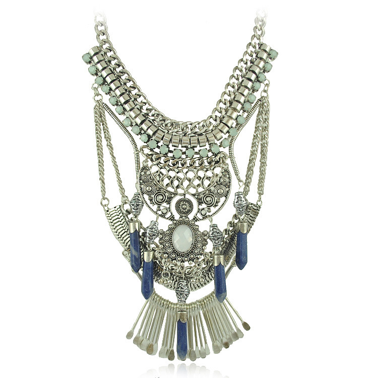 Brand Women 2015 Maxi Colar Paragraph Necklaces & Pendants Collar Statement Necklace Gem Stone Silver Gold Chain Perfume Women(China (Mainland))