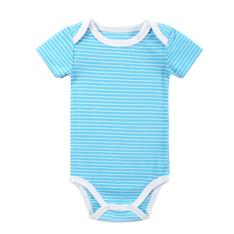 2016 Wholesale Cheap Baby Clothes 100% Cotton Striped Design Short Sleeve Boy Girl Bodysuits Newborn Baby Products 0-12 months(China (Mainland))