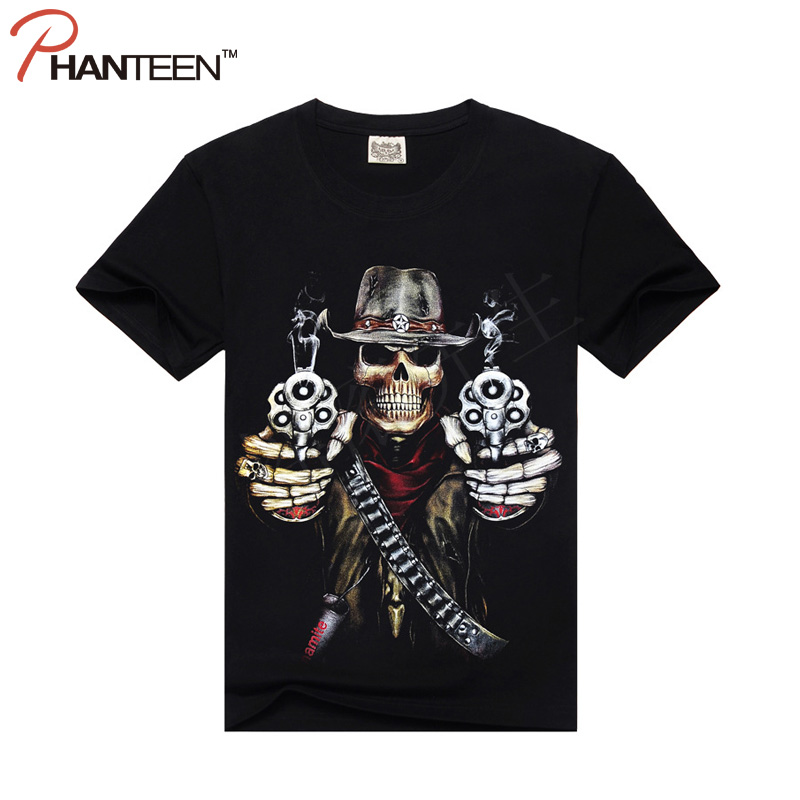 Men Brand Clothes European And American Style Man T Shirt Rock And Roll 3D Skull Army Print Plus Size Men Fashion T-shirts(China (Mainland))