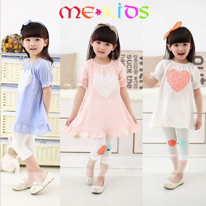 MF060 Kids Miss A 2015 new summer children cotton short sleeve flower print heart shape pattern baby girls ruffles dress(China (Mainland))