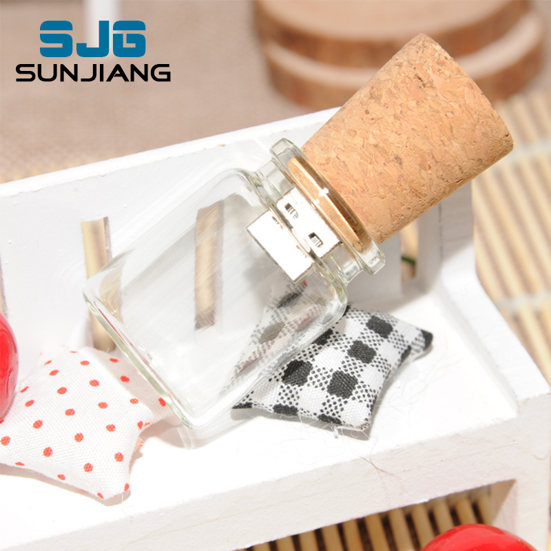 Glass Bottle with Cork USB Flash Drive pendrive Transparent pen drive 64GB 8GB 16GB 32GB 4GB U disk special gift Free Shipping(China (Mainland))