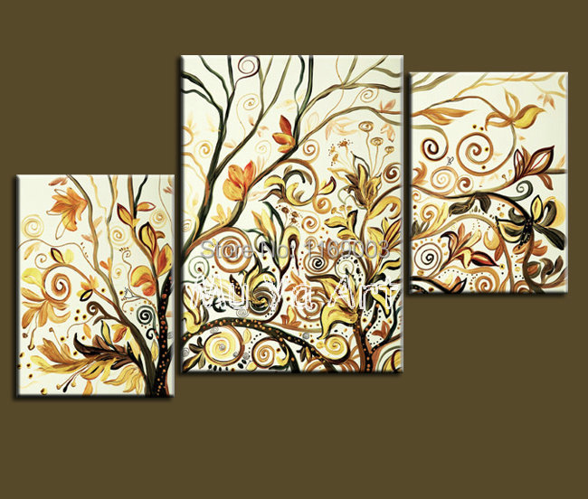 Abstract modern 3 panel canvas wall art tree yellow oil for 3 panel wall art
