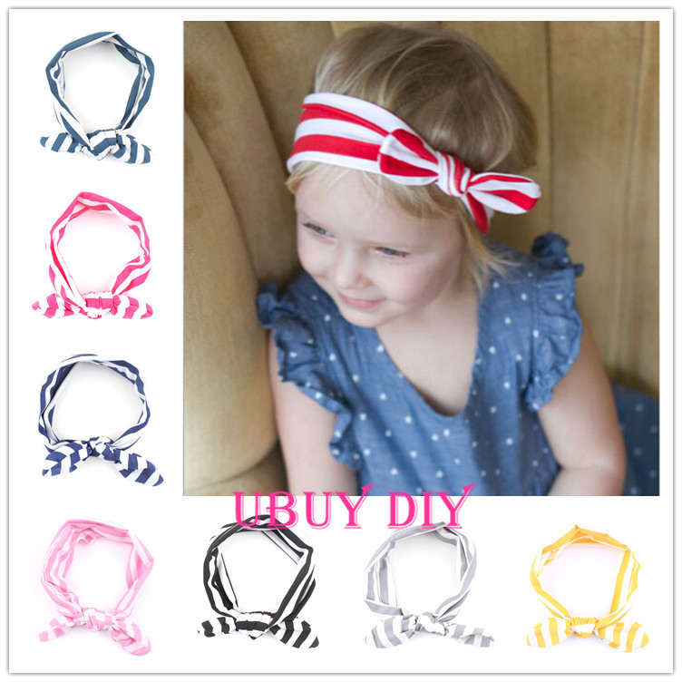 Retail CHOOSE YOUR COLOR Elastic Cotton Striped Baby Headbands Newborn Baby Girls' Flower Hairbands Baby Hair Bows(China (Mainland))