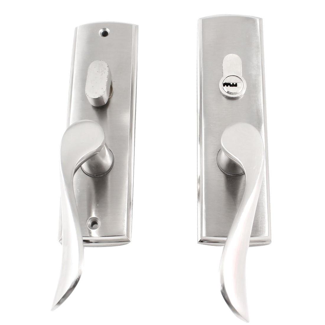 NFLC Household Door Bedroom Metal Safety Handle Lock Latch Silver Tone w 3 Keys<br><br>Aliexpress