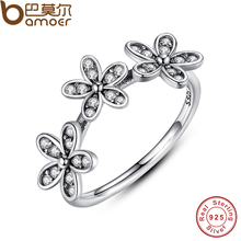 Genuine 100% 925 Sterling Silver Dazzling Daisy Stackable Ring  Clear CZ Flower Appropriate With Pandora Jewellery Reward PA7126