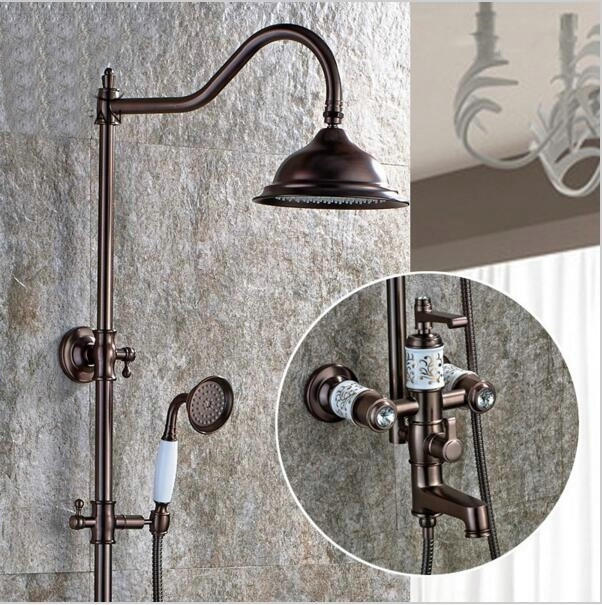 New Free shipping bathroom shower faucet ORB Brass Adjust Height Handheld Shower Bath Tap Wall Mount Shower Set M2070(China (Mainland))