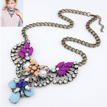 5 colors summer 2014 fashion big star fan of luxury dazzling gem drop rhinestone necklace choker jewelry statement necklace