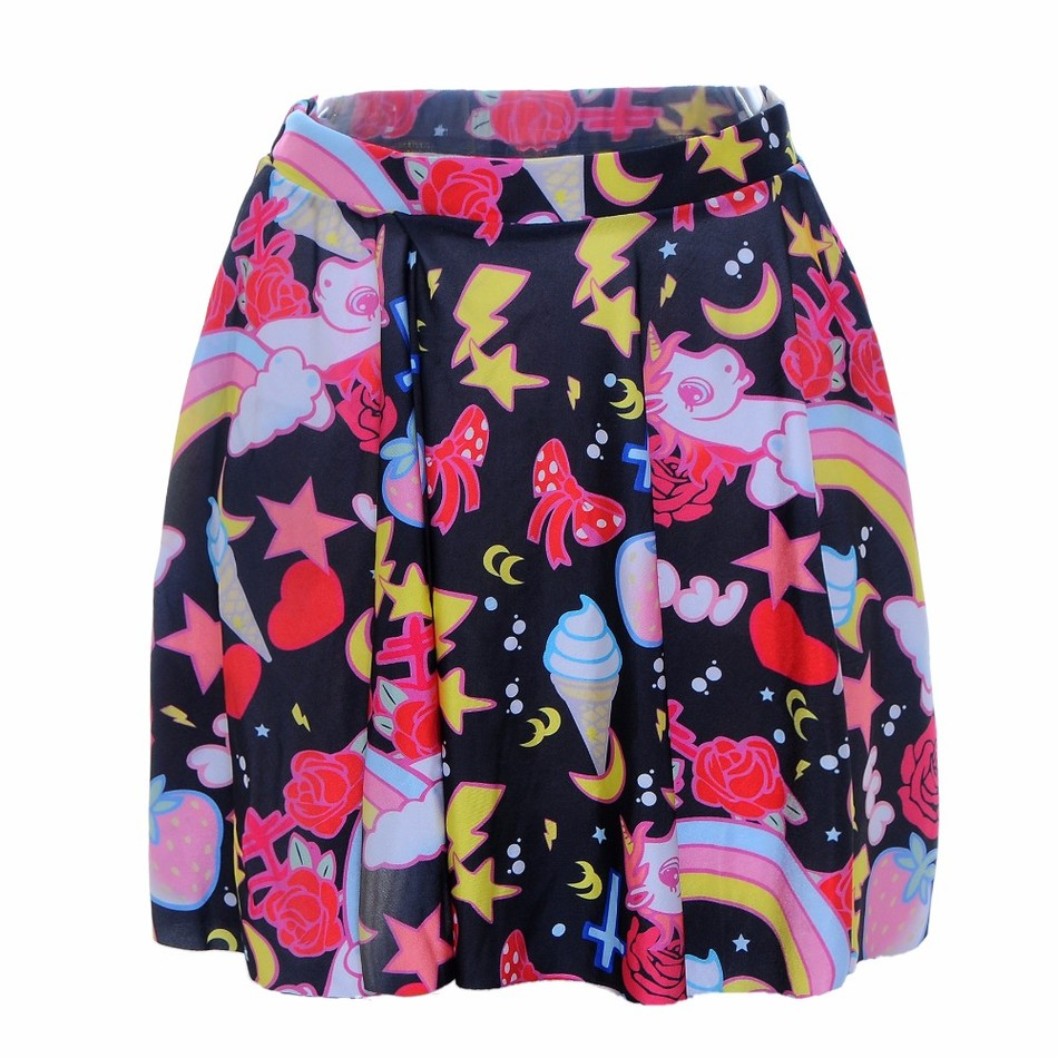 Summer style 2016 sexy Women fashion Sweet ice cream Rainbow Pleated skirt half-body skirt Digital Print The Knee Ladies SKIRTS(China (Mainland))