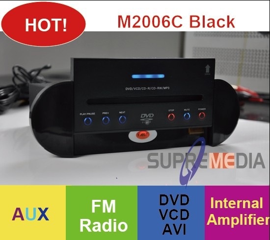 Free shipping hot sale Waterproof DVD Player for Spa/bathtub/kitchen- 2006C Black(China (Mainland))