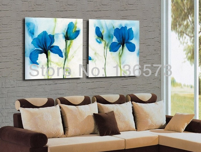 Handmade Modern Oil Painting Blue Flowers Canvas Art Home Decoration Wall Pic