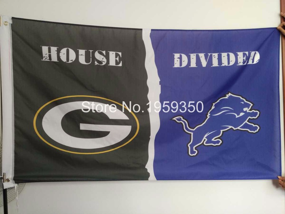 Green Bay Packers vs Detroit Lions House Divided Rivalry Flag 90x150cm 40132(China (Mainland))