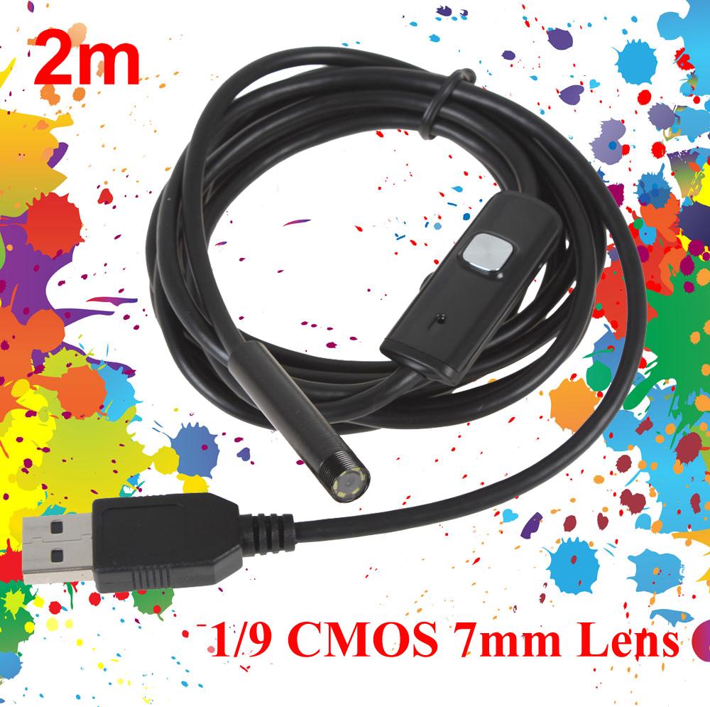 Гаджет  Waterproof 2m Cable Camera 6 LEDs 1/9 CMOS 7mm Lens Mini USB Endoscope None Безопасность и защита