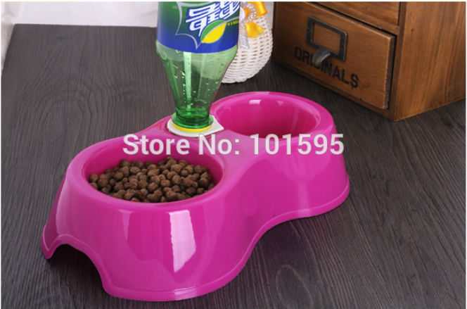 New Red/Purple/Blue/Yellow Lovely Little Dog Cat Pet Drink Food Diet Dual Bowl Automatic Water Dispenser Feeder(China (Mainland))