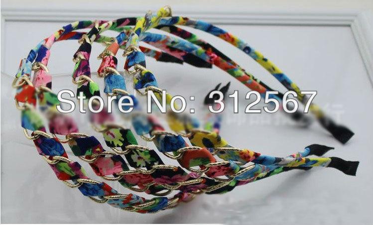 Free Shipping 40pcs/lot Gold Metal Chain Braid Twist Peony Flower Printed Fabric Headband Hairband Wholesales(China (Mainland))